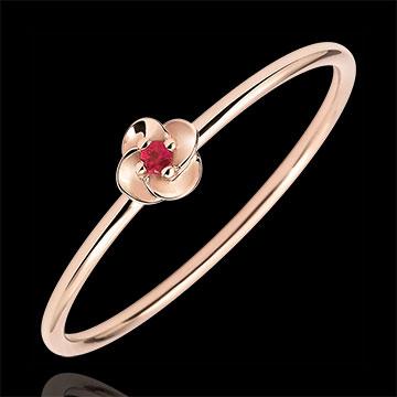Ring Blüte - Erste Rose - Kleines Modell - Roségold und Rubin - 18 Karat