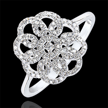 Ring Frische - Arabesk - 9 Karat Weißgold und Diamanten