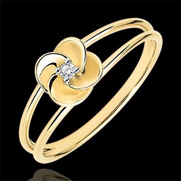 Ring Blüte - Erste Rose - Gelbgold und Diamant - 9 Karat