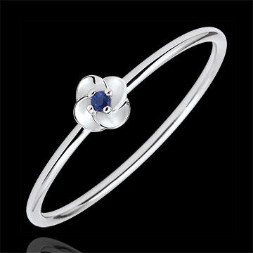Ring Blüte - Erste Rose - Kleines Modell - Weißgold und Saphir - 9 Karat