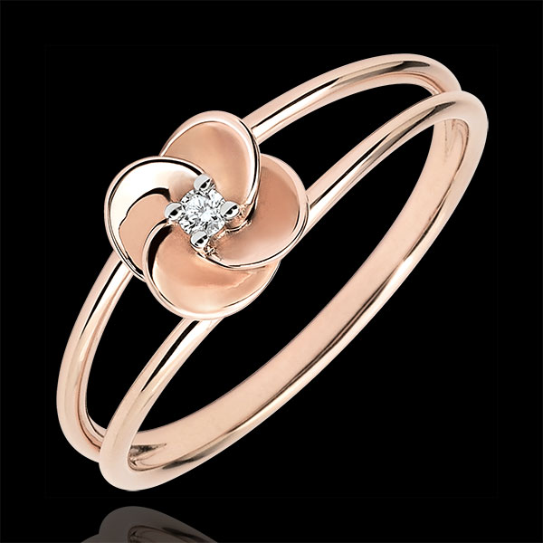 Ring Blüte - Erste Rose - Roségold und Diamant - 9 Karat