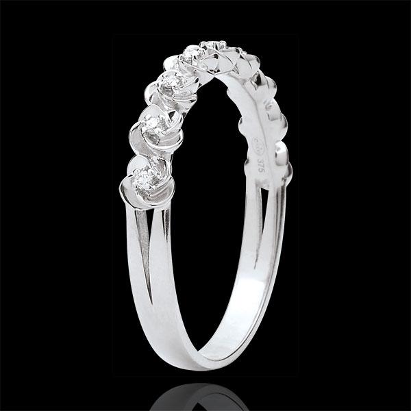 Ring Blüte - Rosenkränzchen - Kleines Modell - Weißgold und Diamanten - 9 Karat