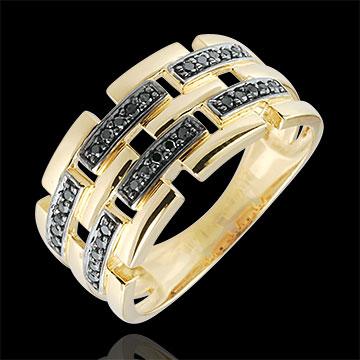 Ring Chiaroscuro - Geheim Pad - 9 karaat geelgoud groot model