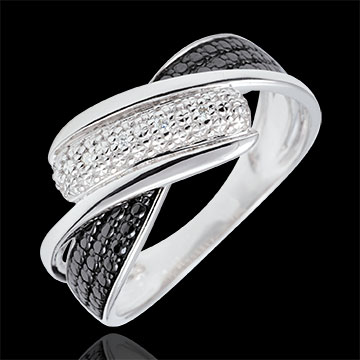 Ring Clair Obscure - Motion - black and white diamonds - 18 carat