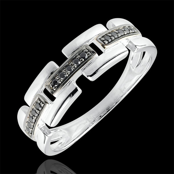 Ring Clair Obscure - Secret Path - white gold, black diamond - small model 9 carat