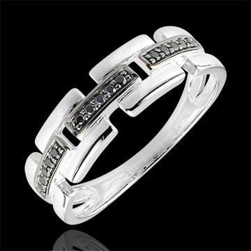 Ring Clair Obscure - Secret Path - white gold, black diamond - small model 9 carat