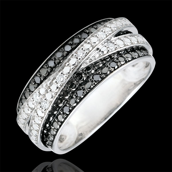 Ring Clair Obscure - Shadow - white gold and black diamonds