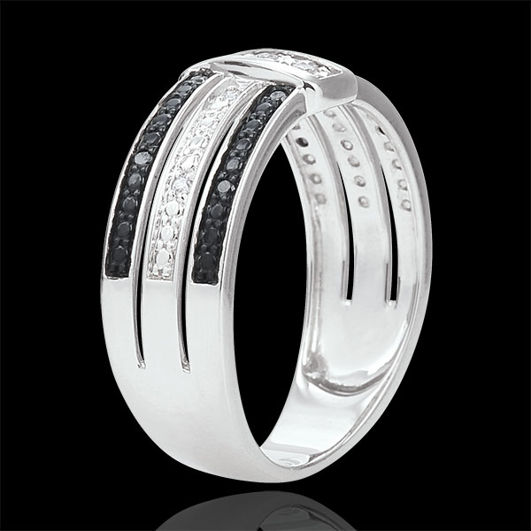 Ring Clair Obscure - Twilight - white gold, white and black diamonds - 18 carat