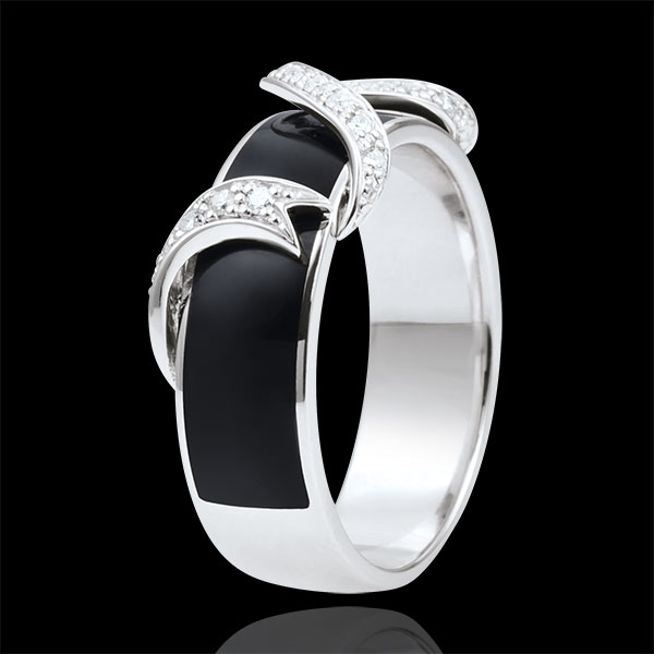Ring Clair Obscure - white gold - Ribbon Stars - black lacquer and diamonds