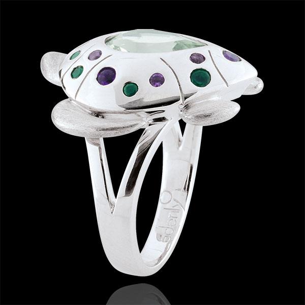 Ring Dagdromen - oceaan Schildpad - zilver en edelstenen