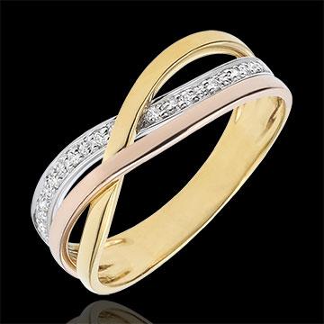 Ring Kleine Saturnus - 3 goudkleuren en diamanten - 9 karaat