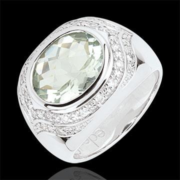 Ring Horus mit grünem Amethyst - Silber, Diamanten und Halbedelsteine