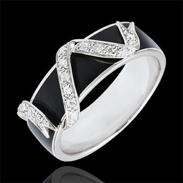 Ring Dämmerschein in Weißgold- Sternenstaub - Schwarzer Lack und Diamanten