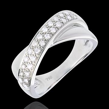 Diamantring Ellipse in Weissgold semi besetzt - 0.26 Karat - 26 Diamanten