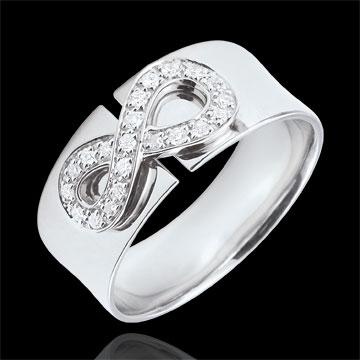 Infinity Ring - wit goud en diamanten - 9 karaat