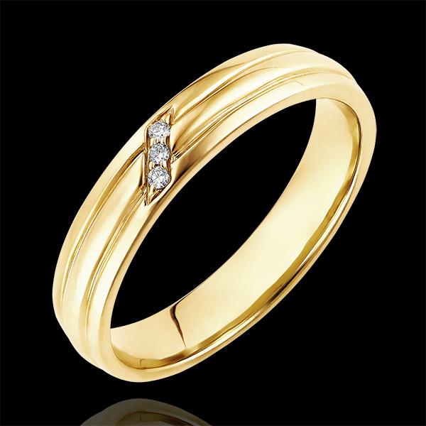 Ring Dämmerschein - Diamanten in Krappenfassung - 9 Karat Gelbgold und Diamanten