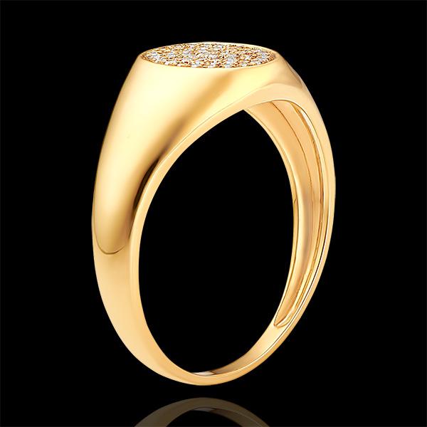 Ring Dämmerschein - Siegelring Achilles mit Diamanten - 9 Karat Gelbgold und Diamanten