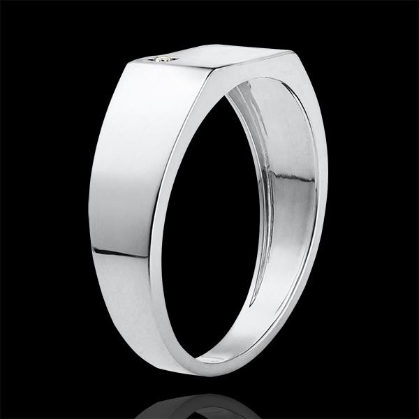Ring Dämmerschein - Siegelring Hector - 9 Karat Weißgold und Diamant