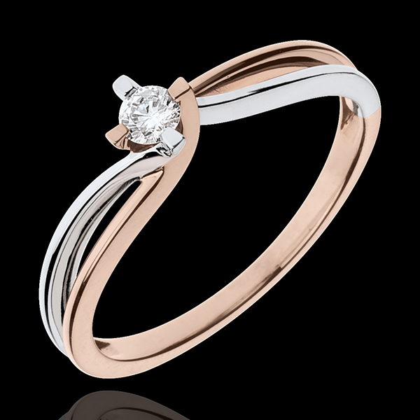 Ring das Kostbarer Kokon - Klarheit - Weiß-und Roségold - Diamant 0. 11 Karat -18 Karat
