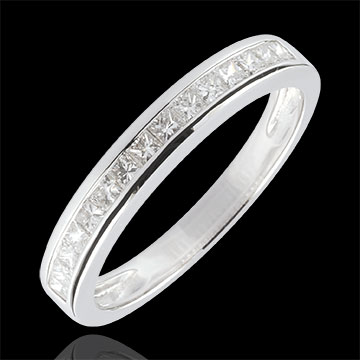 Ring Diamanten Prinses rails - 0.36 karaat - 9 karaat witgoud