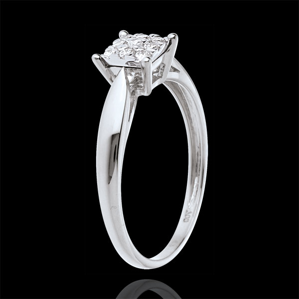 Ring Diamantwürfel in Weißgold - 9 Diamanten