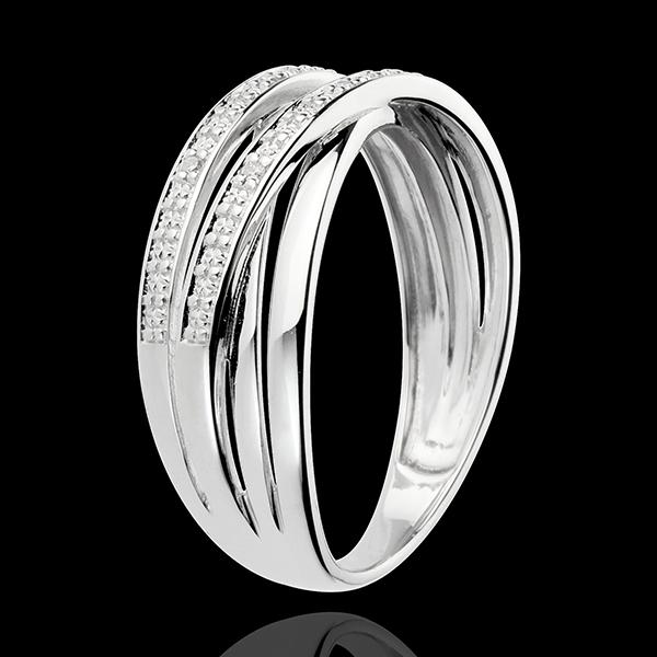 Ring Draaikolk - 18 karaat witgoud - 6 Diamanten