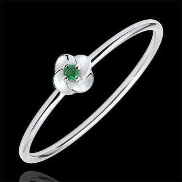 Ring Eclosion - First Rose - small model - white gold and emeralds - 18 carats