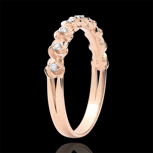 Ring Eclosion - Roses Crown - Small model - pink gold and diamonds - 9 carats