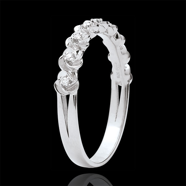 Ring Eclosion - Roses Crown - Small model - white gold and diamonds - 9 carats