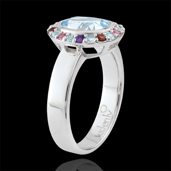 Ring Eden Bloem - zilver en edelstenen