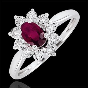 Ring Eeuwige Edelweiss - Marguerite Illusie - robijn en Diamanten - 18 karaat witgoud