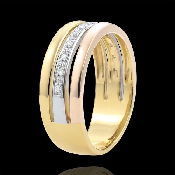 Ring Egeria - drie goudkleuren en diamanten - 9 karaat