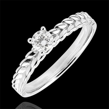 Ring Enchanted Garden - Braid Solitaire - white gold - 0.2 carat - 9 carat