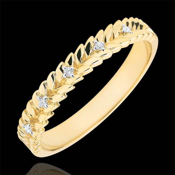 Ring Enchanted Garden - Diamond Braid - yellow gold - 9 carats