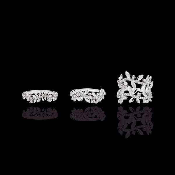 Ring Enchanted Garden - Foliage Royal - double - white gold and diamonds - 9 carats