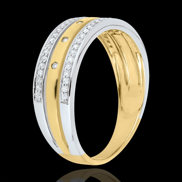 Ring Enchantment - Crown of Stars - large model - yellow gold, white gold and diamonds - 18 carat