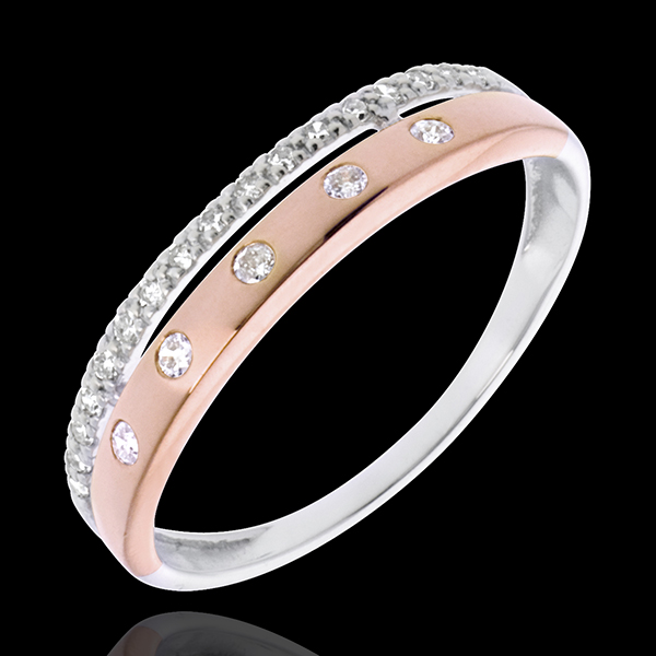 Ring Enchantment - Crown of Stars - small - rose gold, white gold - 22 diamonds