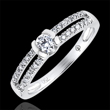 Ring Enchantment - Noble Engagement - white gold 9 carats and diamonds