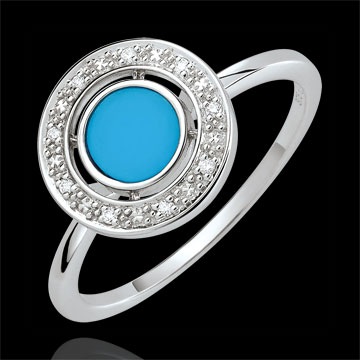 Ring Felicitas - Türkis und Diamanten - 375er Weißgold