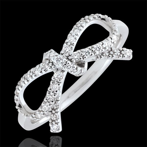 Ring Fijne Knoop Wit Diamant - zilver en Diamanten