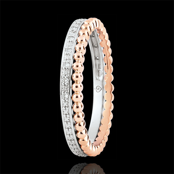 Ring Fleur de Sel - dubbele rij - Diamanten - 18 karaat rozégoud en witgoud