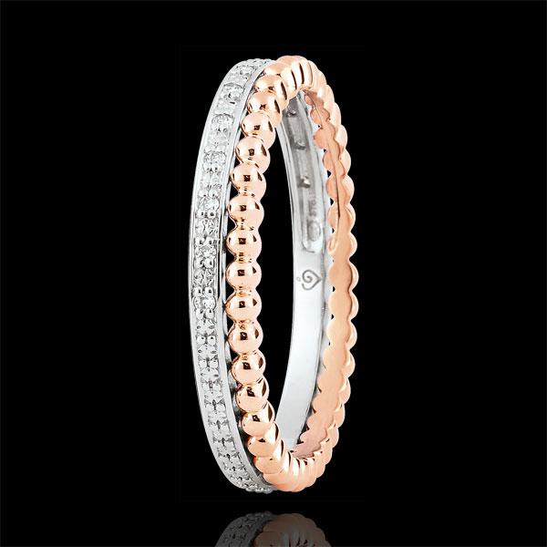 Ring Fleur de Sel - dubbele rij - Diamanten - 9 karaat rozégoud en witgoud