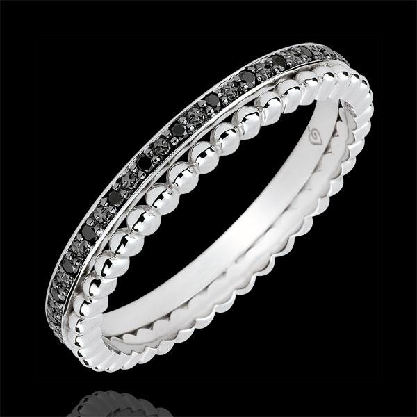 Ring Fleur de Sel - dubbele rij - zwarte Diamanten - 9 karaat witgoud