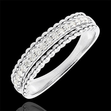 Ring Fleur de Sel - twee ringen - 9 karaat witgoud