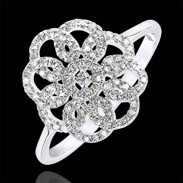 Ring Freshness - Arabesque - white gold 9 carats and diamonds