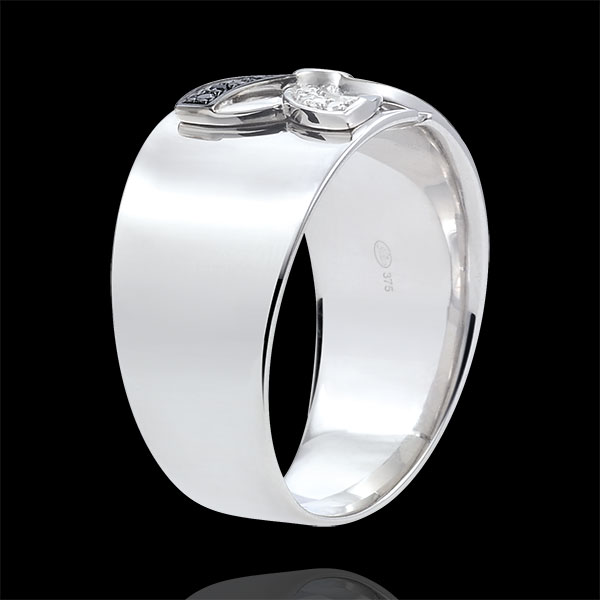Ring Freshness - Lilies of summer - white gold and black diamonds - 18 carat