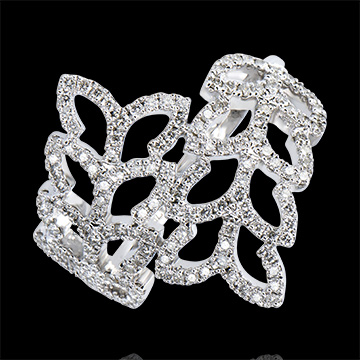 Ring Freshness - Willow Leaves - white gold 9 carats and diamonds