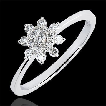 Ring Frische - Bergblume - 18 Karat Weißgold und Diamanten