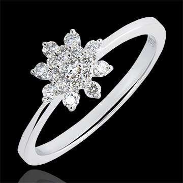 Ring Frische - Bergblume - 9 Karat Weißgold und Diamanten