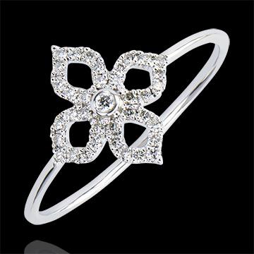 Ring Frische - Lilie - 9 Karat Weißgold und Diamanten